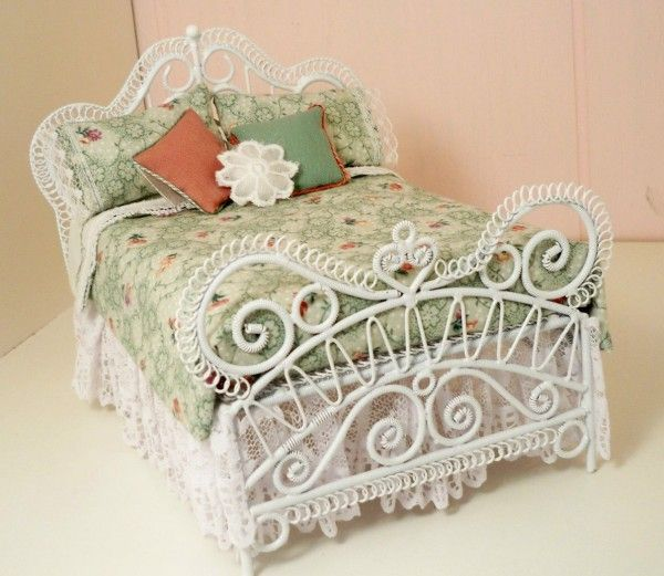 Dollhouse Miniature White Wicker Aqua Double Bed By Minieoriginals