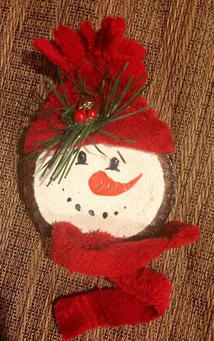 Snowman Christmas ornament from tree branch