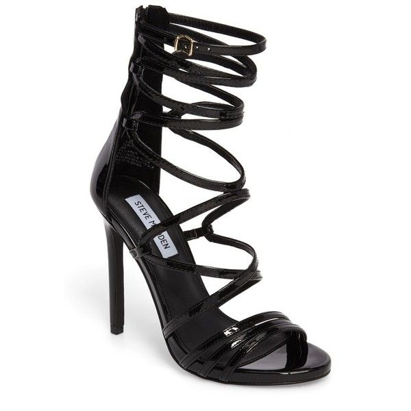 Women's Steve Madden Flaunt Gladiator Sandal (130 AUD) ❤ liked on Polyvore featuring shoes, sandals, black patent leather, black stilettos, black gladiator sandals, steve madden sandals, strap sandals and stiletto sandals