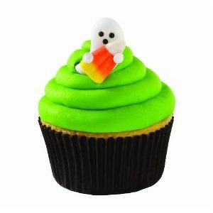 ghost with candy corn edible halloween cupcake toppers by wilton