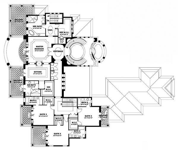 Second Floor Plan Of Mediterranean House 55808