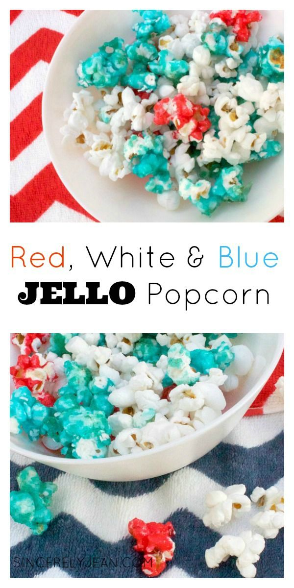 Patriotic Jello Popcorn - Kids will love this red, white, and blue popcorn. Perfect for Memorial Day and Fourth of July! SincerelyJean.com