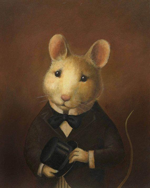 Mouse Portrait Victorian-oil painting mouse art