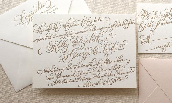 The Gerbera Suite - Letterpress Calligraphy Wedding Invitations - Gold ink on Pearl White paper with Blush liner - Sample