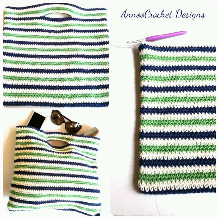 Summer Nautical Crochet Bag Free Tutorial By AnnooCrochet Designs