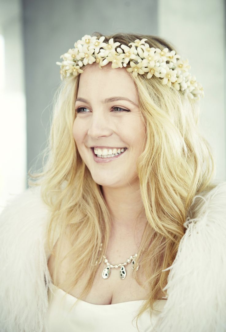Gorgeous Sophie Cookes wearing a custom Lucy Folk neckpiece for her big day!