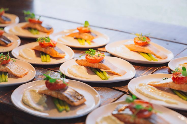 Hot Smoked Aoraki Salmon with watercress, roasted roma tomato, asparagus & horseradish fraiche. Wedding photo credit - Candy Capco Photography