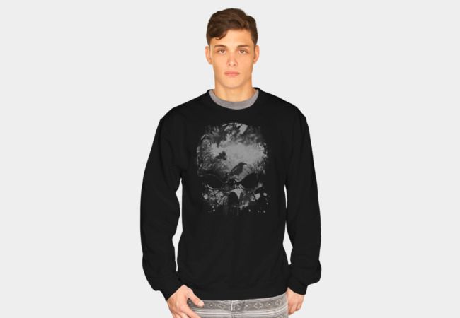 Skull, Trees and Crow - Wicked Grunge Design Sweatshirt - Design By Humans