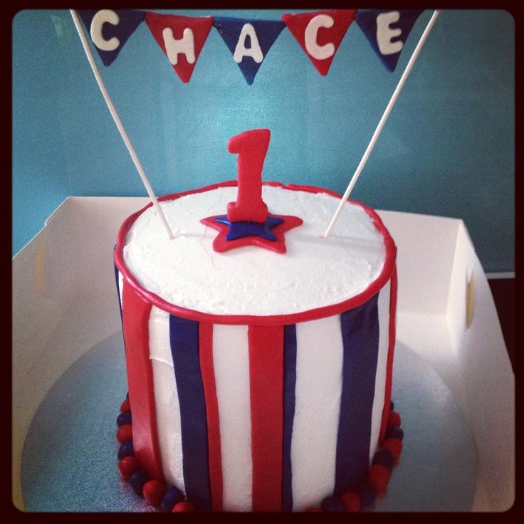 First birthday cake - red white & blue theme