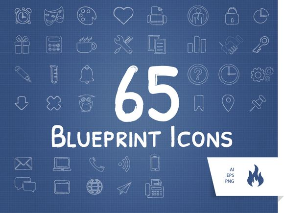 Check out 65 Blueprint / Sketched Icon Set by antjeschettler on Creative Market