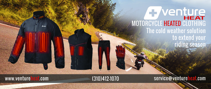 Don't let the coming Fall & Winter Season slow you down. Keep the adventure going with heated motorcycle clothing. http://ventureheat.com Cold Winter weather is never going to be a problem anymore when riding with motorcycle heated gear from Venture Heat®, the original manufacturer, and innovator of the latest in wearable heating technology.