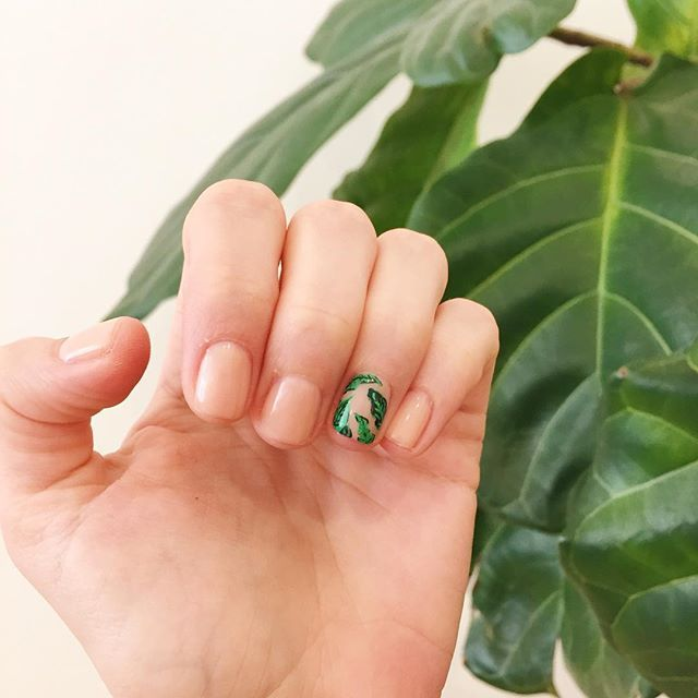 Palm print manicure by Olive & June on LaurenConrad.com editor Ilana Saul