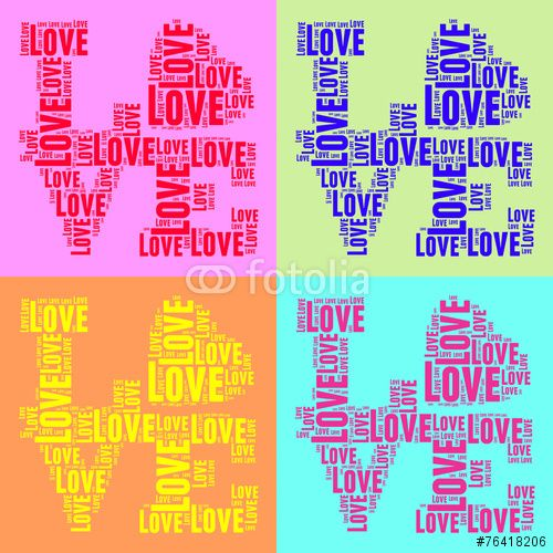 100 Collage of colorful vintage pop art style words cloud LOVE
