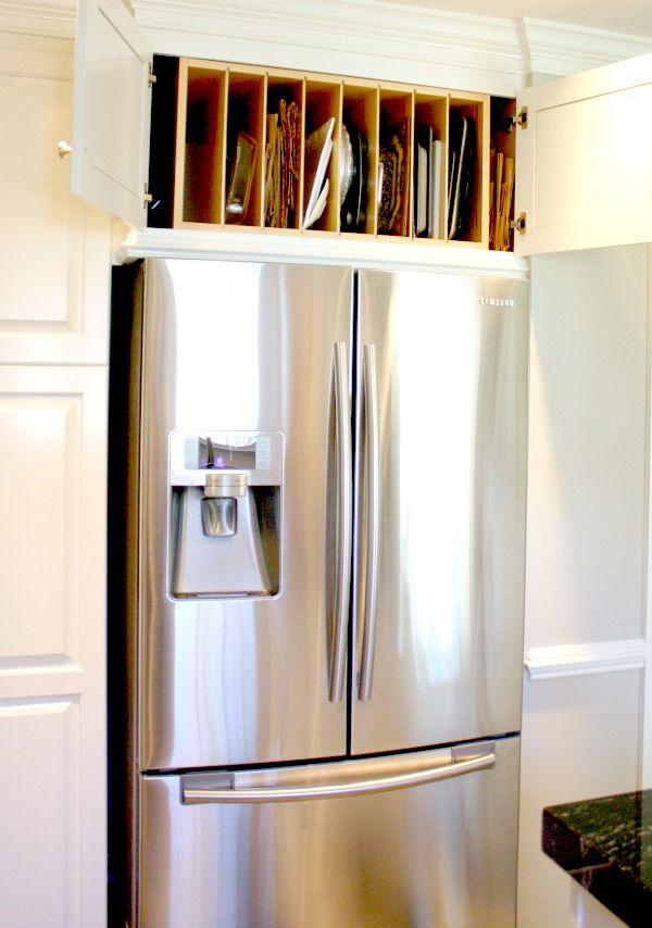 Custom Built tray slots above refigerator! #kitchenremodel #homerenovations