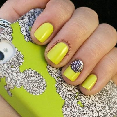 Mellow yellow: Iphone Cases, Yellow Nails, Nails Art, Color, Phones Covers, Phones Cases, Neon Nails, Bright Nails, Neon Yellow