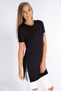 Willamina Black Laceup Side Tee