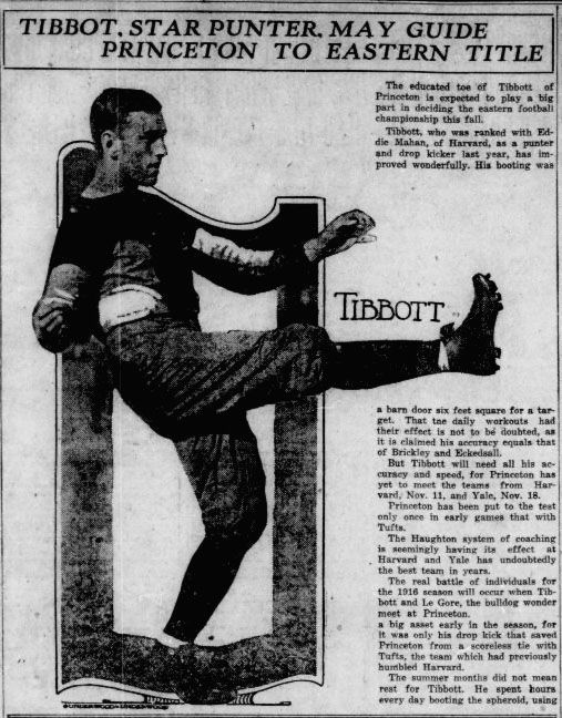 Star Punter Frederick Tibbot, who played for the Princeton football team, printed in the Pensacola journal-October 29, 1916.