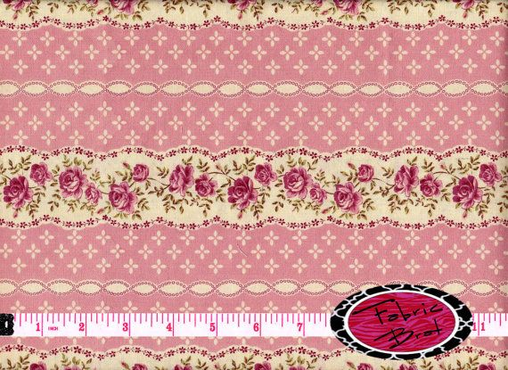 SHABBY CHIC Fabric By The Yard Fat Quarter Pink Striped Floral Rose 100 Cotton Quilt Apparel T1 1