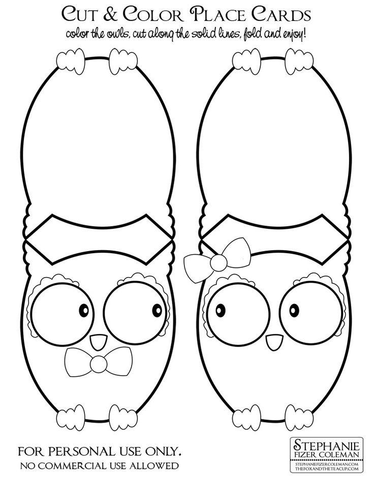 Free Download: Cut & Color Owl Place Cards — Stephanie Fizer Coleman - children's illustrator & licensed artist