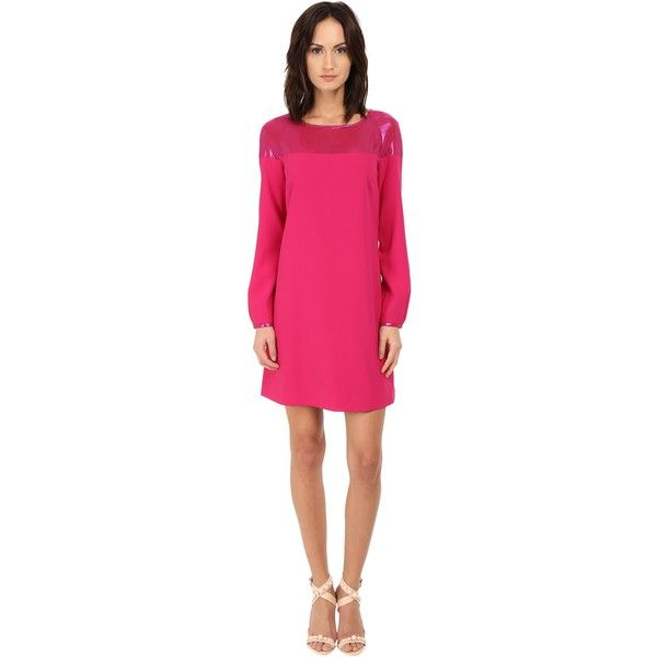 Armani Jeans Vestito Colorblock Shift Dress (Fuchsia) Women's Dress ($128) ❤ liked on Polyvore featuring dresses, pink, sheer dress, colorblock dress, sheath dress, pink sheath dress and fuschia pink dress