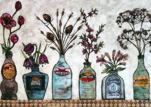 flowers, this is a lovely collograph print by Vicky Oldfield