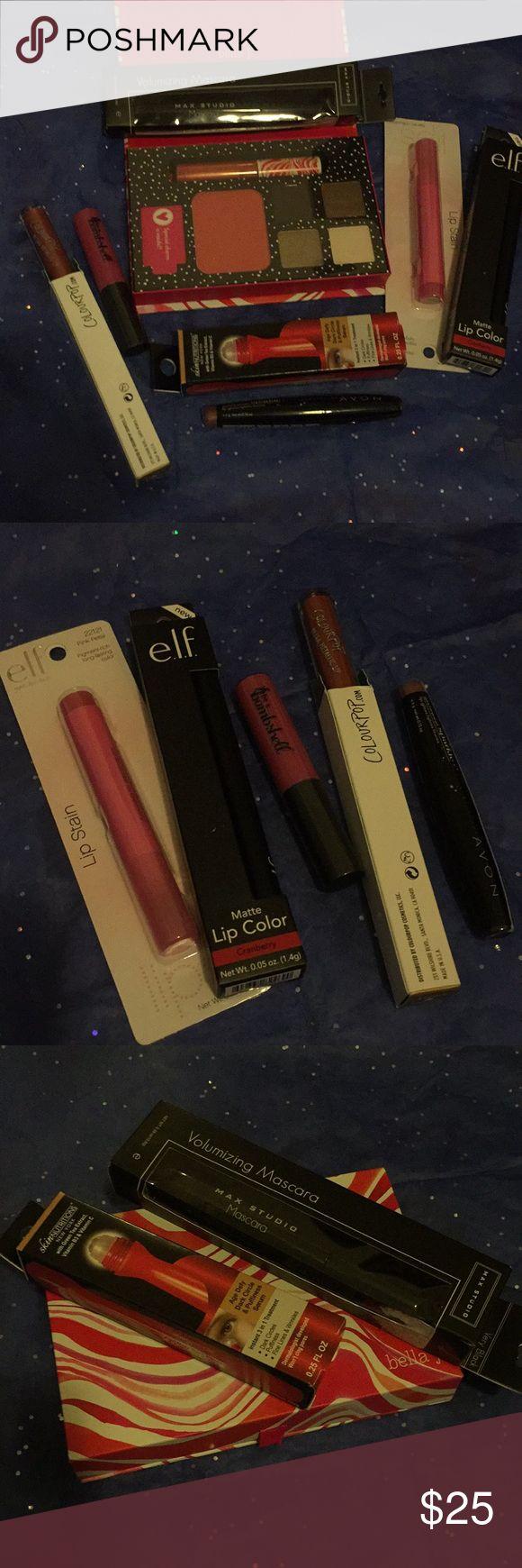 Big bundle of makeup -eyeshadow/blush/lip pallette (Bella j) -elf lip stain and matte lip color -bombshell lip gloss, Avon sparkly lipgloss  -colourpop lipgloss  -under eye treatment and Mac Studio mascara -free gift Makeup