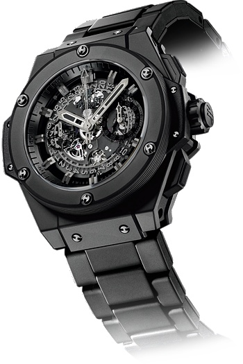 #Hublot All #Black - The skeleton sapphire dial allows one to admire every movement of this HUB 1240 self-winding chronograph. The all-black ceramic case and bezel are mounted on a black rubber strap, to provide exceptional comfort and flexibility. A truly superior timepiece from Hublot, that pays attention to every detail.