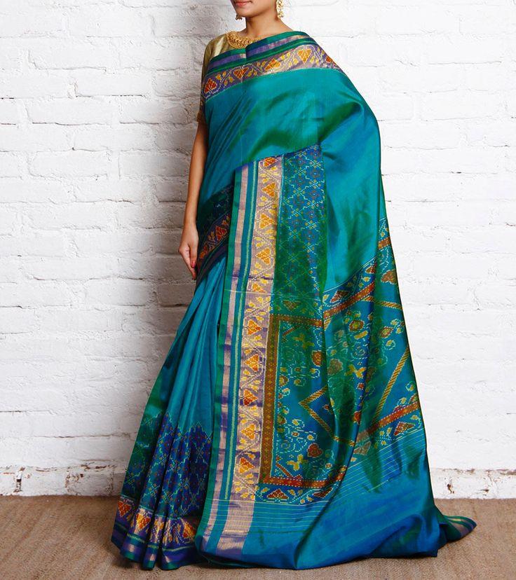 Turquoise Blue Ikat Silk Patola Saree