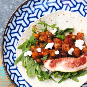 I Quit Sugar - Sweet Potato + Chickpea Tacos with Goats Cheese + Figs