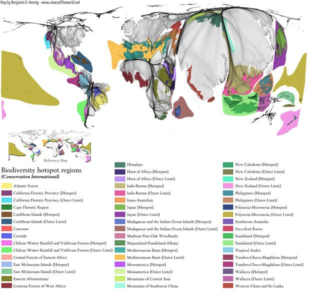 Biodiversity hotspots - a world at risk, map by Benjamin Hennig. This is supposed to show a population cartogram together with the biodiversity hotspots, but how are the biodiversity hotspots distorted, and what can you glean from this map? And there are 30+ colors in the legend!