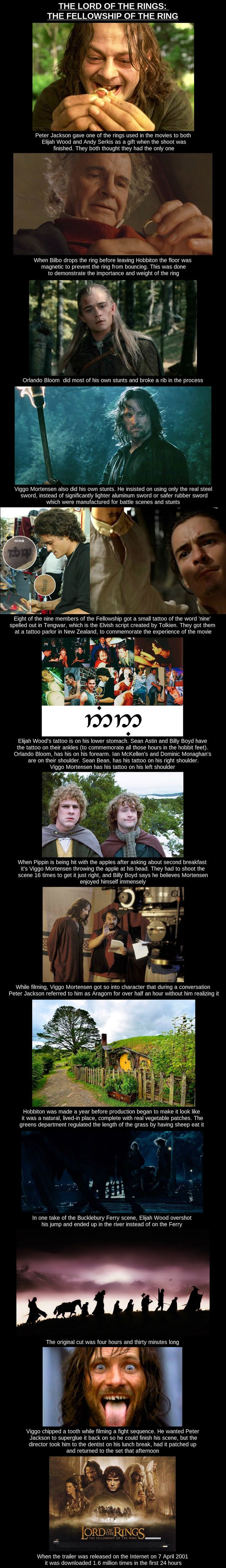 "The Fellowship of the Ring Film Facts. In fairness to Billy Boyd, Viggo did kiss him so thoroughly that he ""saw stars"" later, lol."