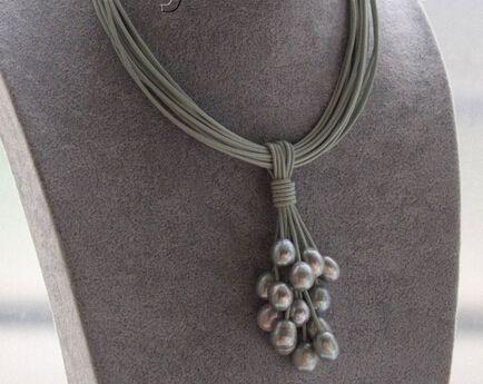 Shitou 001452 15row серые жемчужины серая кожа ожерелье магнит застежка