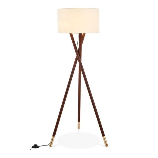 Walnut Finish Albany Wooden Tripod Floor Lamp | Modern Lighting