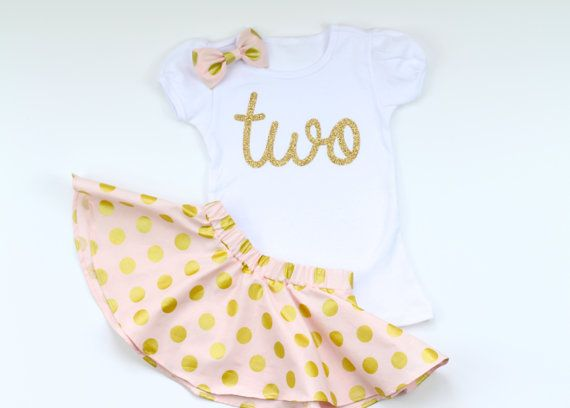 2nd Birthday Outfit with Twirl Skirt and Hair Bow by babyOclothing