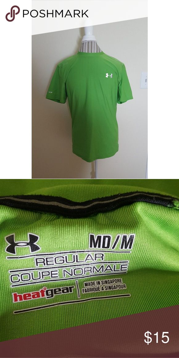 Mens under Armour short sleeve lime green shirt Mens under Armour short sleeve lime green shirt. This shirt has been worn but still in great condition. Size M Under Armour Shirts Tees - Short Sleeve