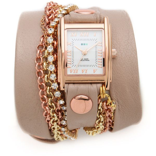 La Mer Collections Crystal Chain Wrap Watch (525 BRL) ❤ liked on Polyvore featuring jewelry, watches, bracelets, relogio, la mer watches, chain watches, crystal stone jewelry, la mer jewelry and chains jewelry