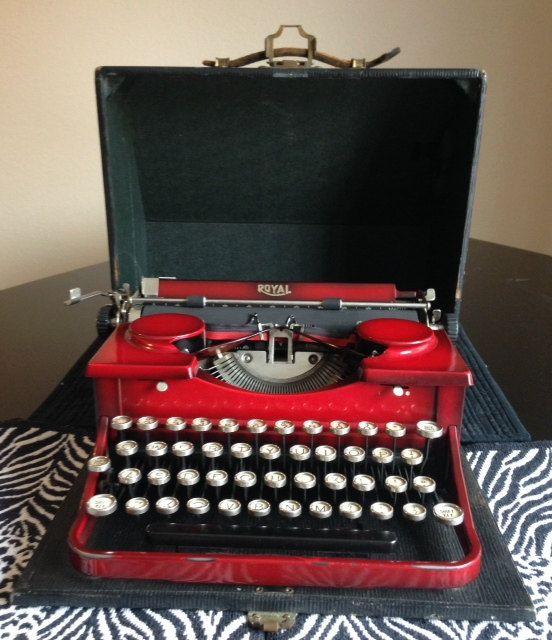 Red Royal Portable Vintage Typewriter Rare by KayesQuirkyAttic, $500.00