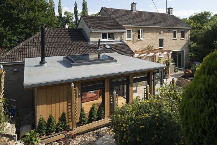 Sustainable Extension Bath, Large Rooflight and Woodburning Stove Flat Roof Skylight Glazed Extension