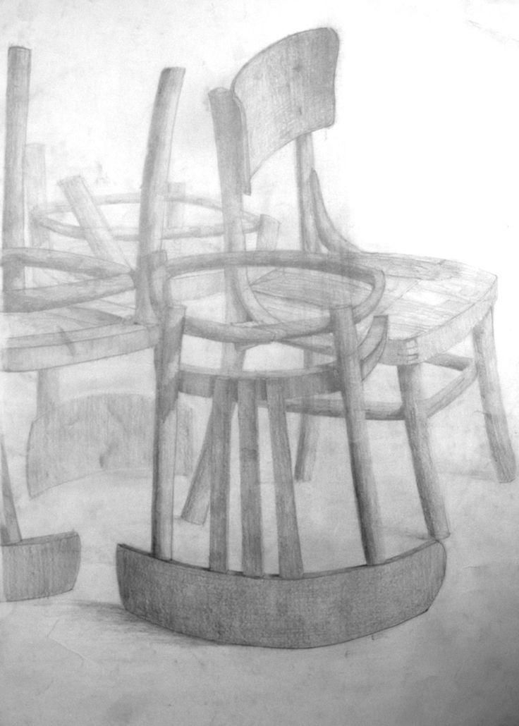 Krzesła, 70x50cm, brystol, pencil