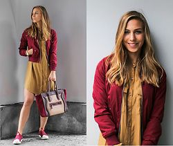 Eliska H. - Bershka Burgundy Bomber, Céline Tote Bag, Adidas Originals Superstar Slip On, H&M Shirt Dress - Burgundy Bomber