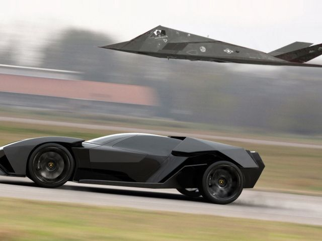 Airplane F-117 Nighthawk competing in speed with Lamborghini