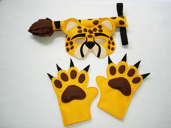 Children's Safari Animal CHEETAH Felt Costume Set by magicalattic
