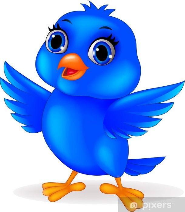 Fototapete Lustige Comic Blaue Vogel Pixers Wir Leben Um Zu Verandern Blauer Vogel Vogel Clipart Lustige Comics