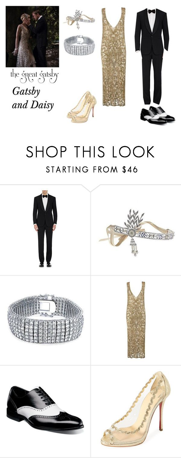 """""""Gatsby and Daisy"""" by wiiqueen ❤ liked on Polyvore featuring Gatsby, Ralph Lauren Purple Label, Bling Jewelry, Stacy Adams, Christian Louboutin, stylish and couplescostumes"""