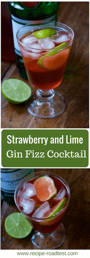 A summery, refreshing taste on a gin cocktail - the strawberry and lime gin fizz, made with homemade strawberry syrup. Click though for fill recipe: http://www.recipe-roadtest.com/recipe/strawberry-gin-fizz/
