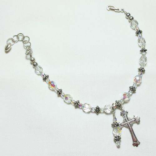 Clear Ice Crystal Rosary Bracelet Divine Mercy Chaplet