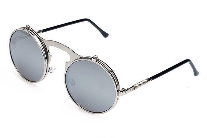 ZXTREE Vintage Round Double Flip Sunglasses Gothic Steampunk Mens Fashion Sunglasses Women de sol Female Man Retro Eyewear Z208