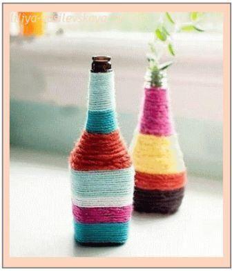 Ваза из бутылки - украшаем нитками