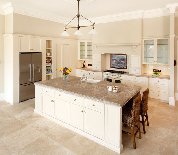 White Kitchen Cabinets And Countertops: Travertine Floor White Cabinets: Travertine Countertops