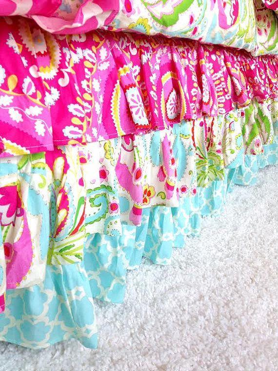 Ruffled Bed Skirt - Kumari Teja, Mint, and Hot Pink
